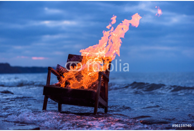 Burning old armchair 64239