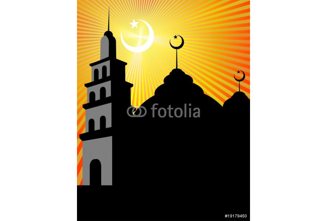 Toile déco Illustrations of mosque with domes, stars and moon 64239