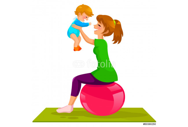 Obraz nowoczesny mother and baby playing on gymnastic ball 64239