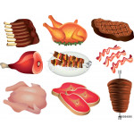 meat photo-realistic vector set 64239