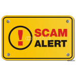 scam alert yellow sign - rectangle sign 64239