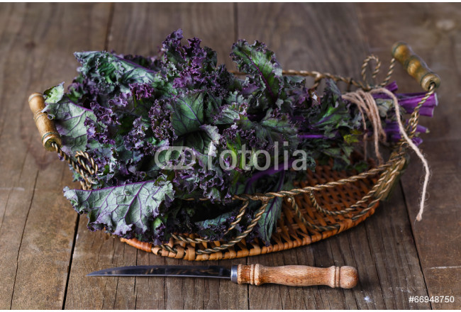 Bunch of kale on a rustic wooden background 64239