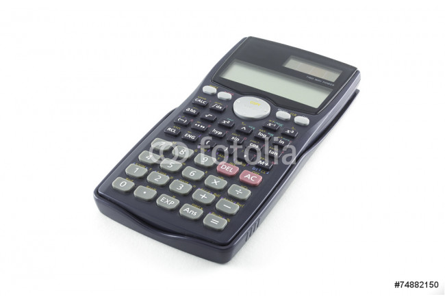 Scientific Calculator with Solar Power isolated on white 64239