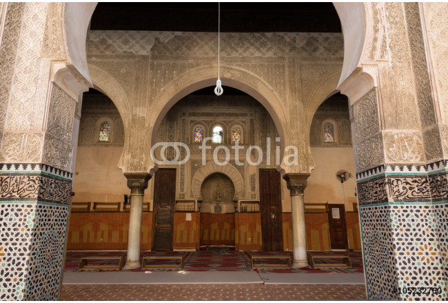 the mosque of the 14th century Bou Inania medrese in the ancient medina of Fes 64239