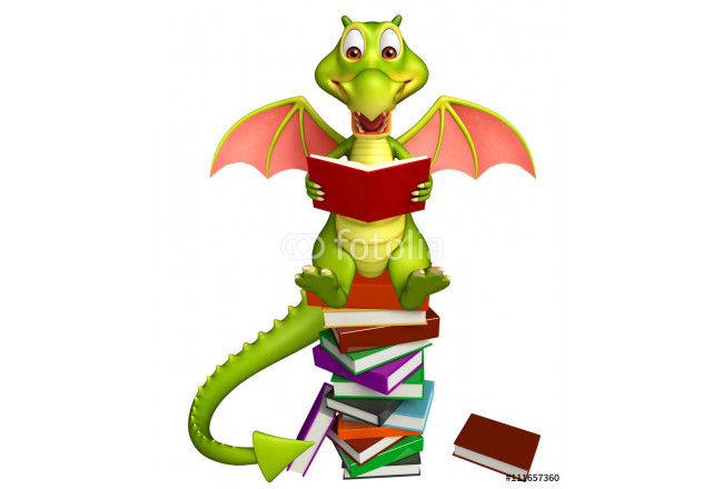 cute Dragon cartoon character with book stack 64239