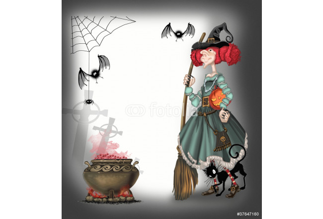 Сute witch with a broom witchcraft 64239
