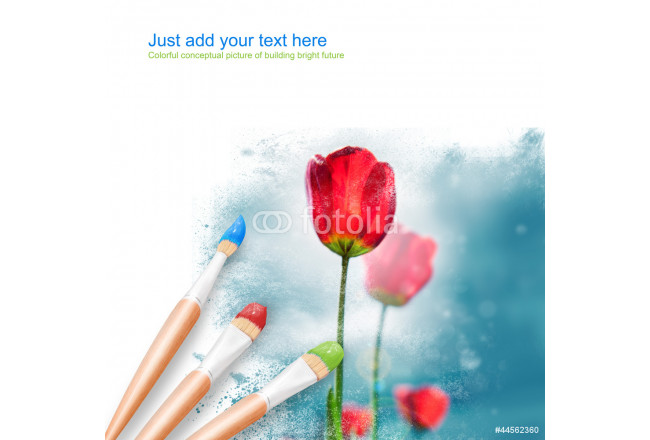 White background with three paintbrushes painting beautiful flow 64239