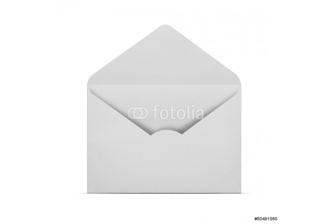 Blank open envelope isolated on white with clipping path 64239