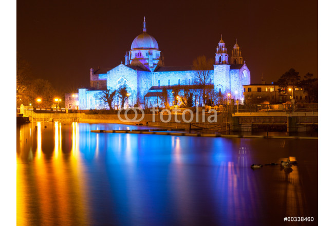 Galway Cathedral lit up blue 64239