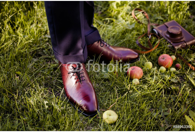 Men wear fashionable shoes standing on the green grass 64239