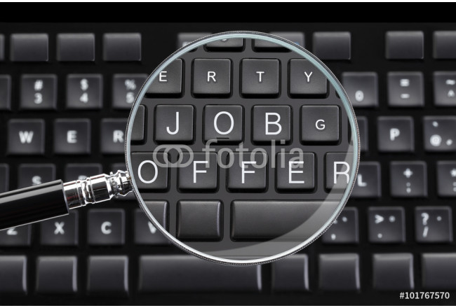 JOB OFFER written on keyboard with magnifying glass 64239