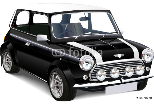 Detailed vector  illustration of old mini cooper 64239