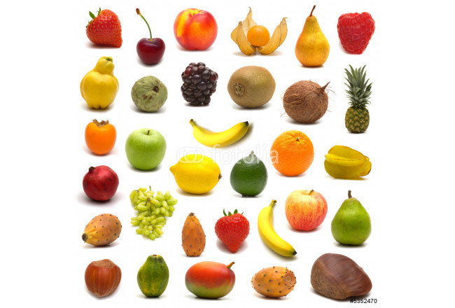 large page of fruits and nuts on white background 64239