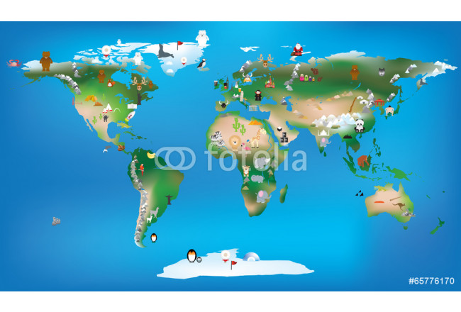 world map for childrens using cartoons of animals and famous lan 64239