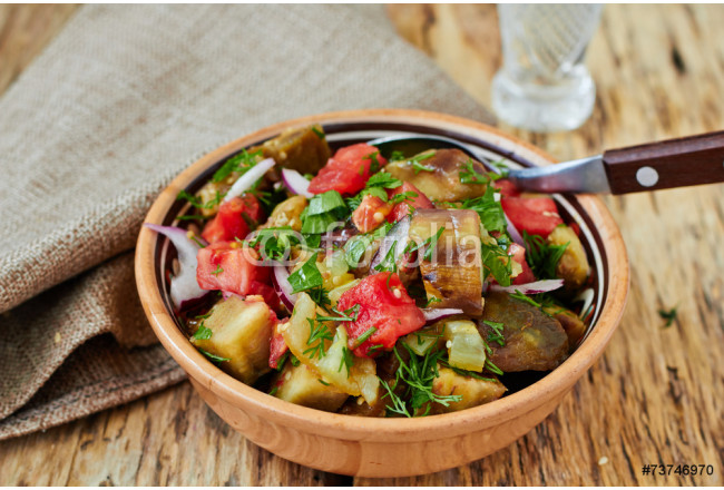 Baked vegetable salad with eggplant, paprika and tomato 64239