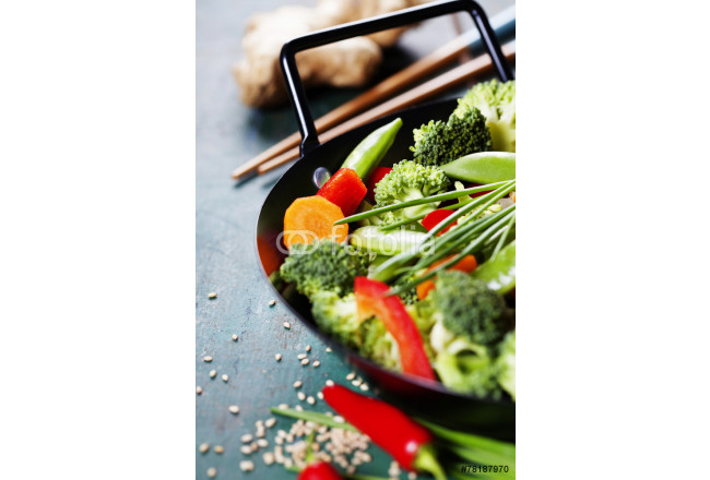 Chinese cuisine. Wok cooking vegetables. 64239
