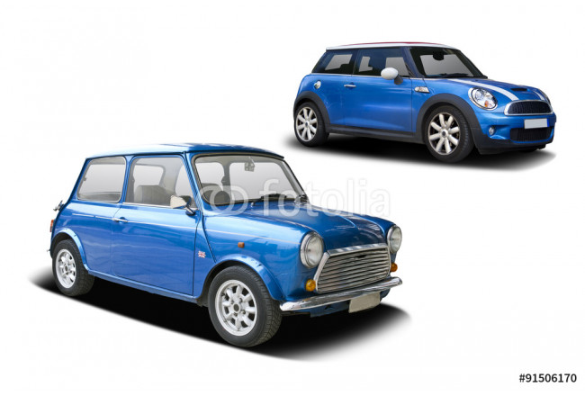 Old and new blue Mini cooper side view isolated on white 64239