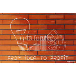 lightbulb next to coins and cash with text From idea to profit 64239