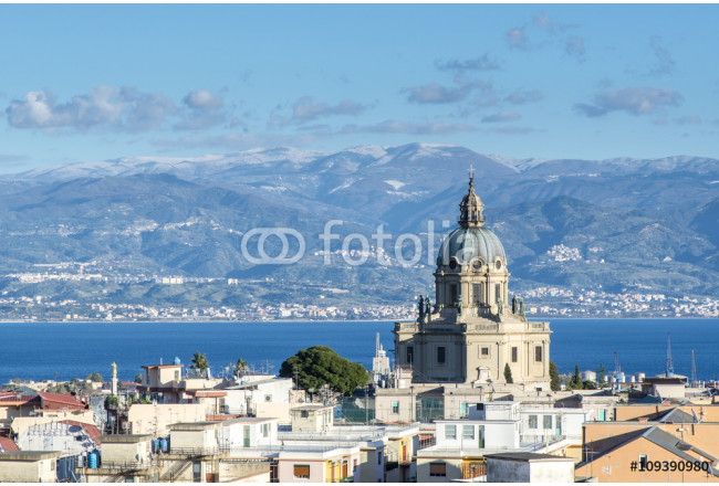 Panoramic view of the Messina. Temple Christ the King.  Sicily. Italy 64239
