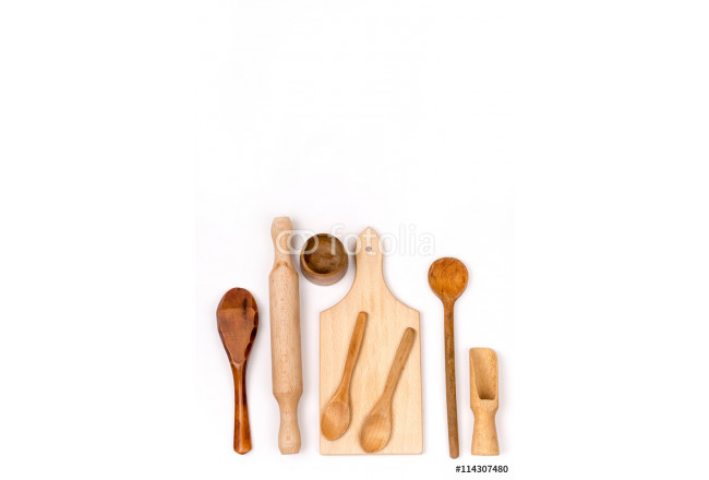 Bild auf Leinwand Kitchen wooden cutting board and wooden spoons flat lay 64239