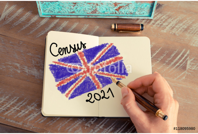 Census 2021 United Kingdom written on notebook page 64239