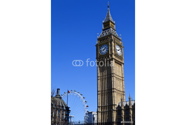 Big Ben (Houses of Parliament) and the London Eye 64239