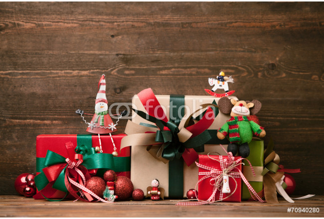 Christmas Presents and Ornaments on Wooden Background 64239