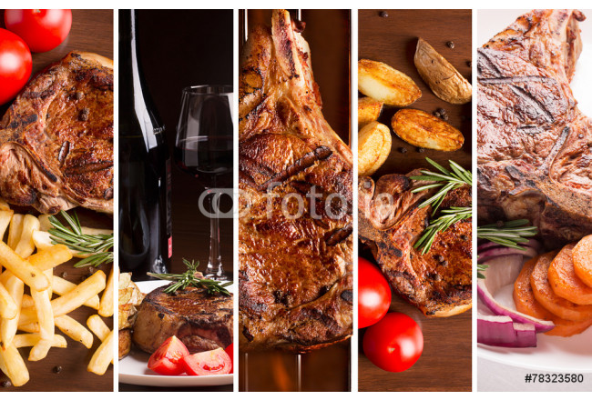 Cuadro decorativo Collage from photos of grilled meat 64239