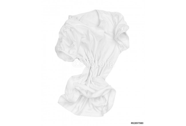 blank white T-shirt on the move in the air on an isolated white 64239