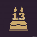 The birthday cake with candles in the form of number 13 icon. Birthday symbol. Flat 64239