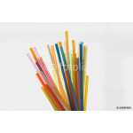 Multi Color flexible straws  on  white background 64239