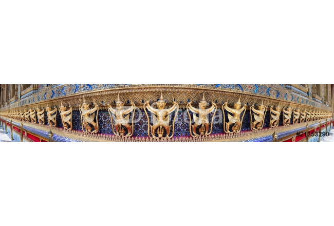 Panorama of golden demon statue temple decoration, Thailand 64239