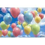 Lots of colorful balloons flying in the air 64239