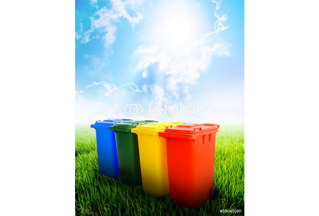 Cuadro decorativo Colorful recycle bins with landscape background 64239