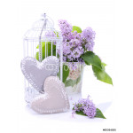 Beautiful decoration with bouquet of flowers and hearts 64239