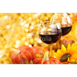 Autumn arrangement with wine, sunflowers and pumpkins. 64239