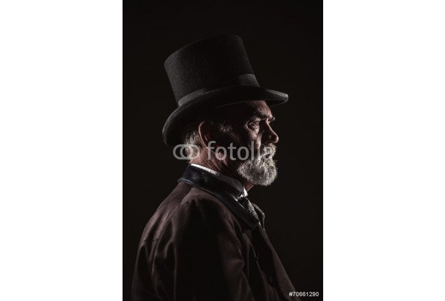 Vintage victorian man with black hat and gray hair and beard. St 64239