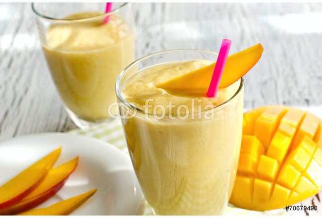 Art painting Healthy mango smoothie to drink  horizontal 64239