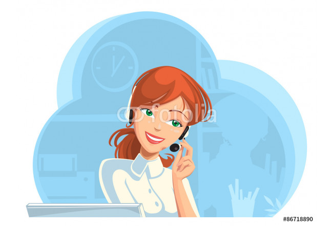 Call-center. Smiling support phone female operator in headset at office. 64239