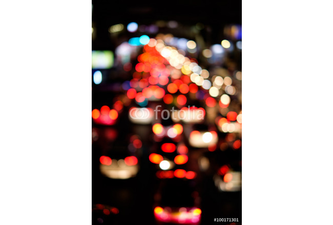 Abstract blur bokeh of traffic jam on road in the city 64239