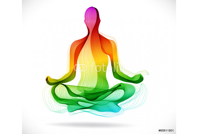 Yoga pose, Abstract color background 64239