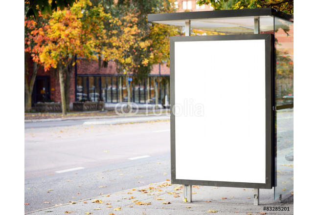 Blank billboard on city bus station 64239