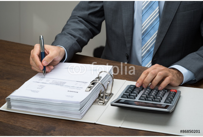 Businessman Calculating Bills In Office 64239