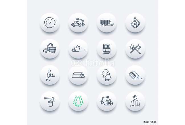 Logging line round modern icons, sawmill, logging truck, tree harvester, timber, lumberjack, wood, lumber, vector illustration 64239