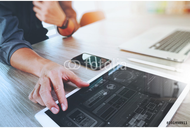 Painting Website designer working digital tablet and computer laptop with 64239