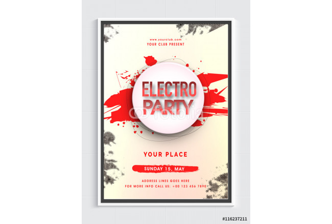 Electro Musical Party Flyer or Banner. 64239