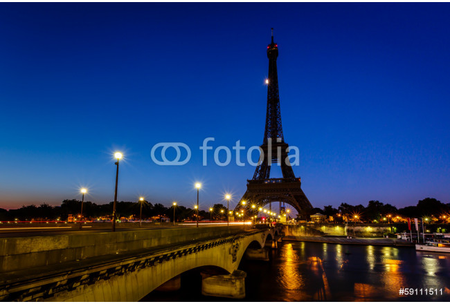 Painting Eiffel Tower and d'Iena Bridge at Dawn, Paris, France 64239