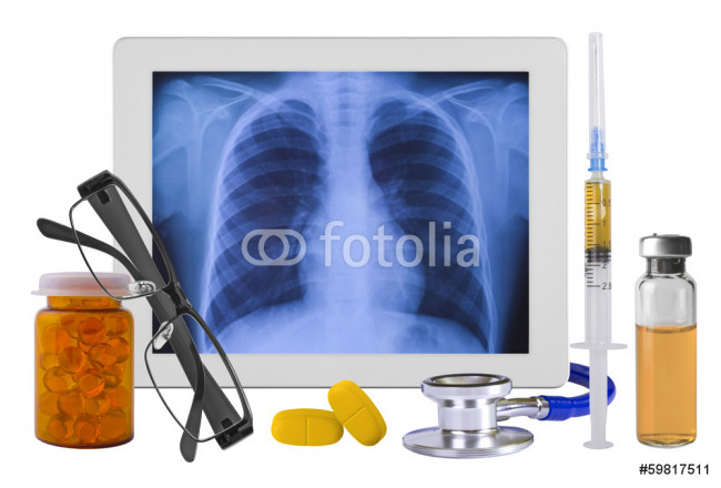 X-ray on tablet pc screen and medical supplies 64239
