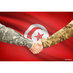 Men in uniform shaking hands with flag on background - Tunisia 64239