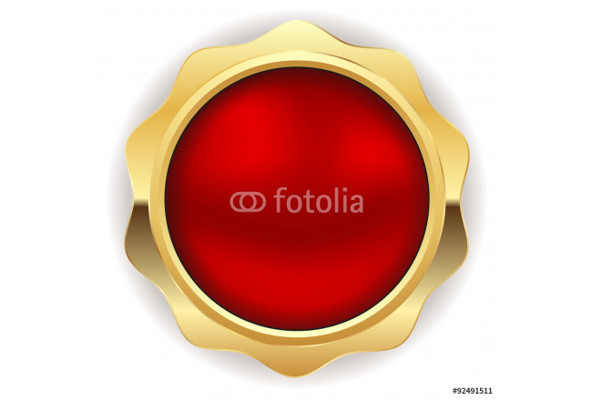Blank red button with gold border 64239